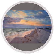 Walking On The Beach At Sunset Round Beach Towel
