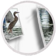 Walking On Water - Gently Cross Your Eyes And Focus On The Middle Image Round Beach Towel