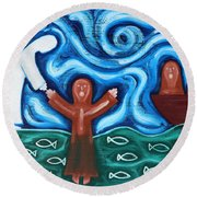 Walking On Water 2 Round Beach Towel by Patrick J Murphy