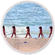 Walking The Beach Round Beach Towel
