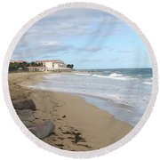 Walking The Beach In St Kitts Round Beach Towel