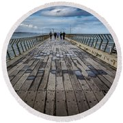 Walking The Pier Round Beach Towel