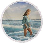 Walking The Surf Round Beach Towel