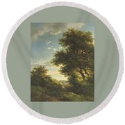 Walking Through The Forest Round Beach Towel