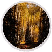 Walking With Aspens Round Beach Towel