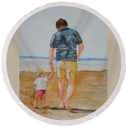 Walking With Pops Round Beach Towel