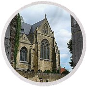Walkway To Thorn Cathedral Round Beach Towel