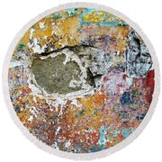 Wall Abstract 196 Round Beach Towel