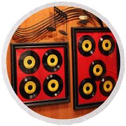 Wall Of Records Round Beach Towel