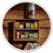 Wall Spice Rack - Americana Kitchen Art Decor - Vintage Spice Cans Tins - Nostalgic Spice Rack Round Beach Towel