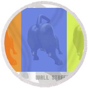 Wall Street Bull Round Beach Towel
