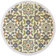 Wall Tiles Of Qasr Rodouan Round Beach Towel