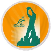 Wallabies Rugby Round Beach Towel