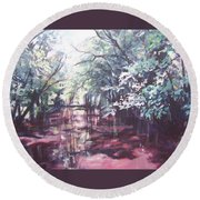 Wall's Bridge Reflections Round Beach Towel