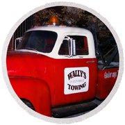Wallys Service Truck Round Beach Towel