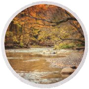 Walnut Creek In Autumn Round Beach Towel