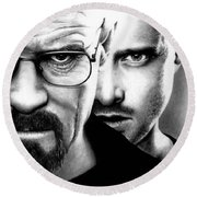 Walt And Jesse Round Beach Towel
