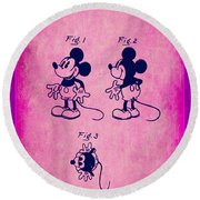 Walt Disney Mickey Mouse Toy Patent 2g Round Beach Towel