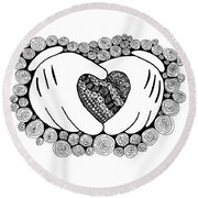 Walt Disney's Mickey Mouse Inspired Hands And Heart Round Beach Towel