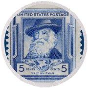 Walt Whitman Postage Stamp Round Beach Towel
