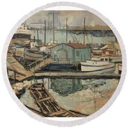 Walter  E  Schofield 1867-1944 Dock With Shed Round Beach Towel