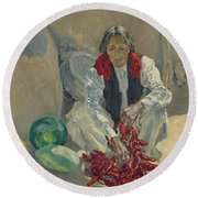 Walter Ufer 1876-1936 Stringing Chili Peppers Round Beach Towel