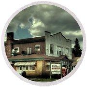 Walt's Diner - Vintage Postcard Round Beach Towel