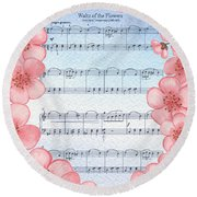 Waltz Of The Flowers Dancing Pink Round Beach Towel