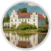 Wanas Castle And Reflection Round Beach Towel