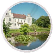 Wanas Castle Duck Pond Round Beach Towel