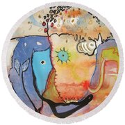 Wandering In Thought Round Beach Towel