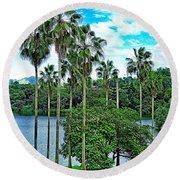 Waokele Pond Palms And Sky Round Beach Towel