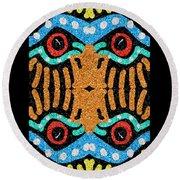 War Eagle Totem Mosaic Round Beach Towel