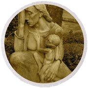 War Mother By Charles Umlauf Round Beach Towel
