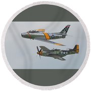 Warbirds Heritage F-86 Sabre And P-51 Mustang Round Beach Towel