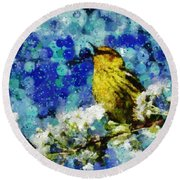 Warbler Of Spring Round Beach Towel