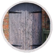 Warehouse Wooden Door Round Beach Towel by Thomas Marchessault