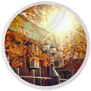 Warm Autumn City. Warm Colors And A Large Film Grain. Round Beach Towel