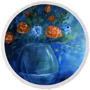 Warm Blue Floral Embrace Painting Round Beach Towel