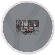 Warm Camp Fire Round Beach Towel