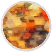 Warm Colors Under Glass - Abstract Art Round Beach Towel