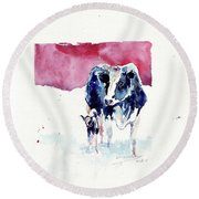 Warm Cuteness Round Beach Towel