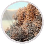Warm Light Snow Round Beach Towel