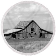 Warm Memories - Black And White Round Beach Towel