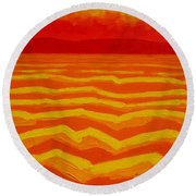 Warm Seascape Round Beach Towel