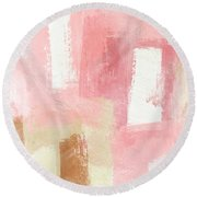 Warm Spring 2- Abstract Art By Linda Woods Round Beach Towel