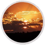 Warm Sunset Round Beach Towel