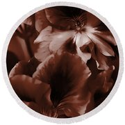 Warm Tone Monochrome Floral Art Round Beach Towel