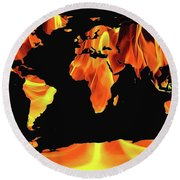 Warming World Map Round Beach Towel