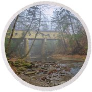 Warner Hollow Rd Covered Bridge Round Beach Towel
